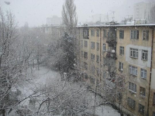 Schneefall in Baku, ein eher ungewöhnliches Ereignis